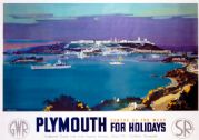 Plymouth for Holidays, Devon. GWR/SR Vintage Travel Poster by Frank Henry Mason. 1936